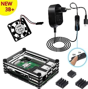 Kit Caja para Raspberry Pi 3 Modelo B+ Plus Carcasa con 5V 2.5A Alimentación con ON/Off Interruptor Ventilador Disipadores de Calor (Negro): Amazon.es: Electrónica