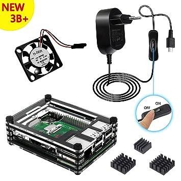 Kit Caja Para Raspberry Pi 3 Modelo B+ Plus Carcasa con 5V 2.5A Alimentación con ON/OFF Interruptor Ventilador Disipadores de Calor (negro)