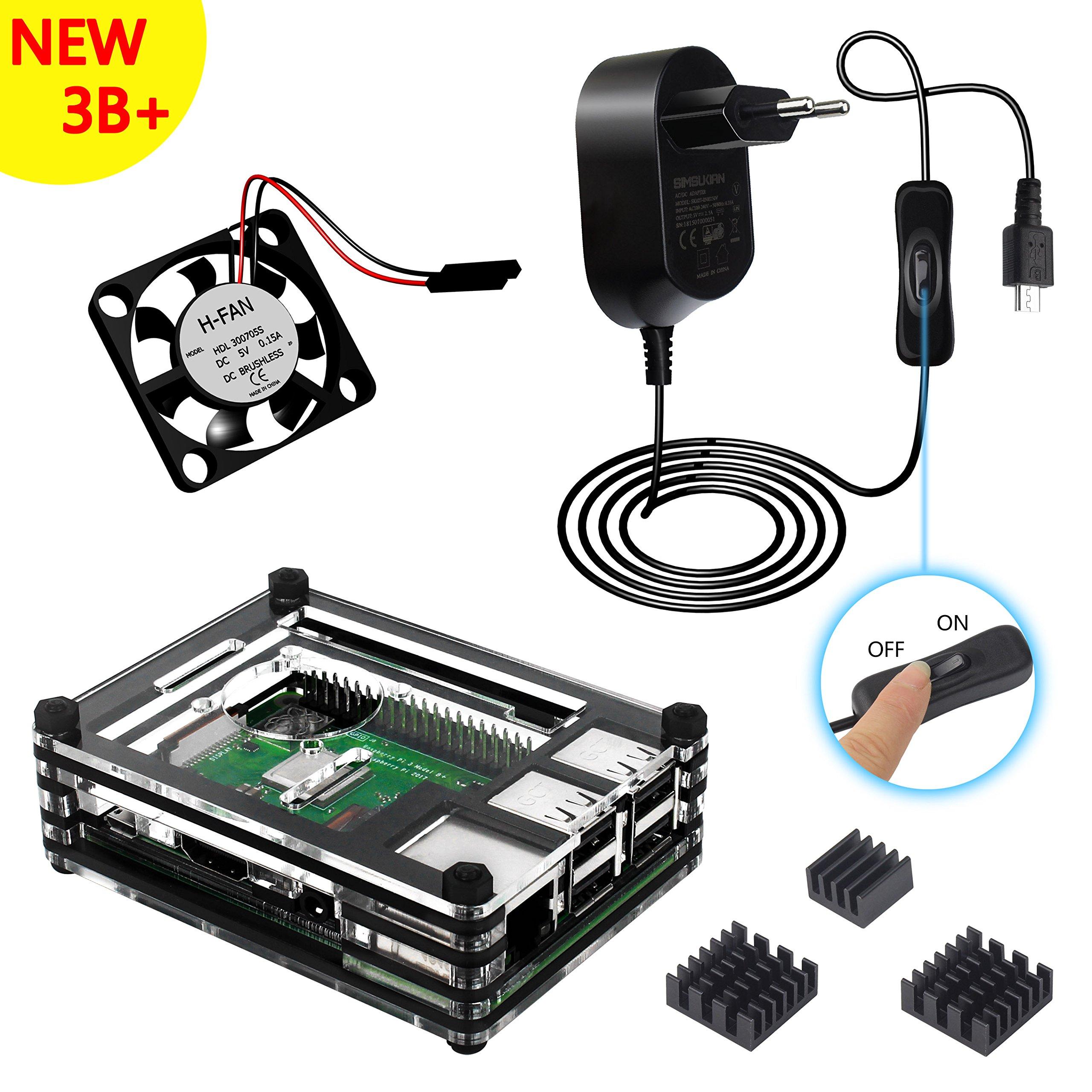 Kit Caja Para Raspberry Pi 3 Modelo B+ Plus Carcasa con 5V 2.5A Alimentación con