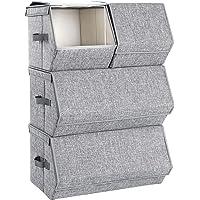 SONGMICS Pudełko do przechowywania z pokrywą, zestaw 4, organizer na zabawki, metalowa rama, magnetyczne zamknięcie, na…