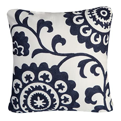 Mika Home Cotton Embroidery Floral Decorative Throw Pillow Covers Cushion  Shells For 18X18u0026quot; Inserts White