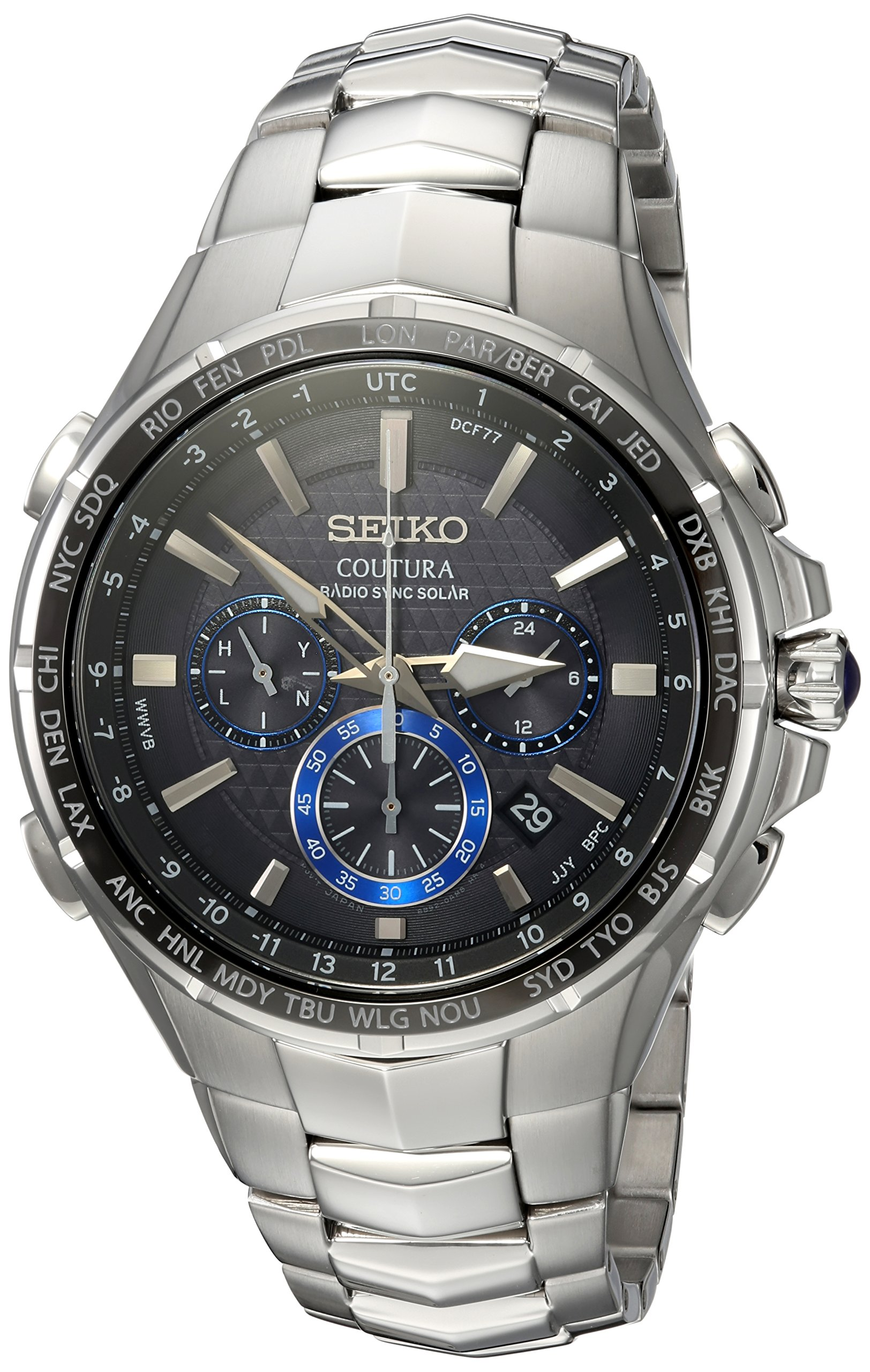 Seiko Men's COUTURA Japanese-Quartz Watch with Stainless-Steel Strap, Silver, 26.3 (Model: SSG009
