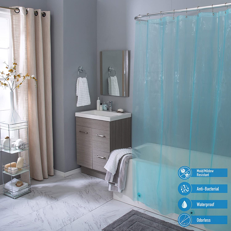 Elle Décor Pinstripe 4 Gauge PEVA Shower Curtain Liner, Anti-Bacterial, Magnet Weighted Hem, Rust Proof Metal Grommets, Mildew & Mold Resistant, Aqua