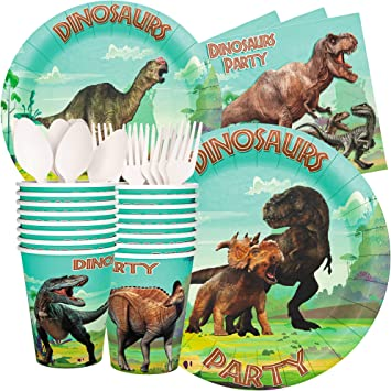 Amazon.com: Juego de servilletas con diseño de dinosaurio y ...
