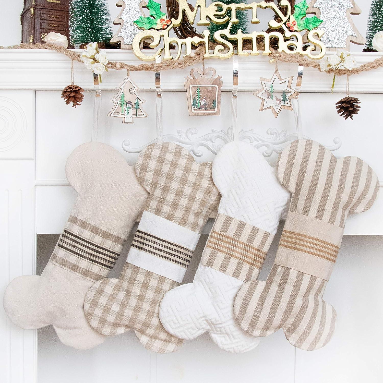 "LUBOTS 1 Ps Cream 18"" Dog Christmas Stockings Bone Pet Plaid/Rustic/Farmhouse/Country Canvas Fireplace Hanging Handmade Xmas Stockings Decorations for Family Holiday Season Decor #2"
