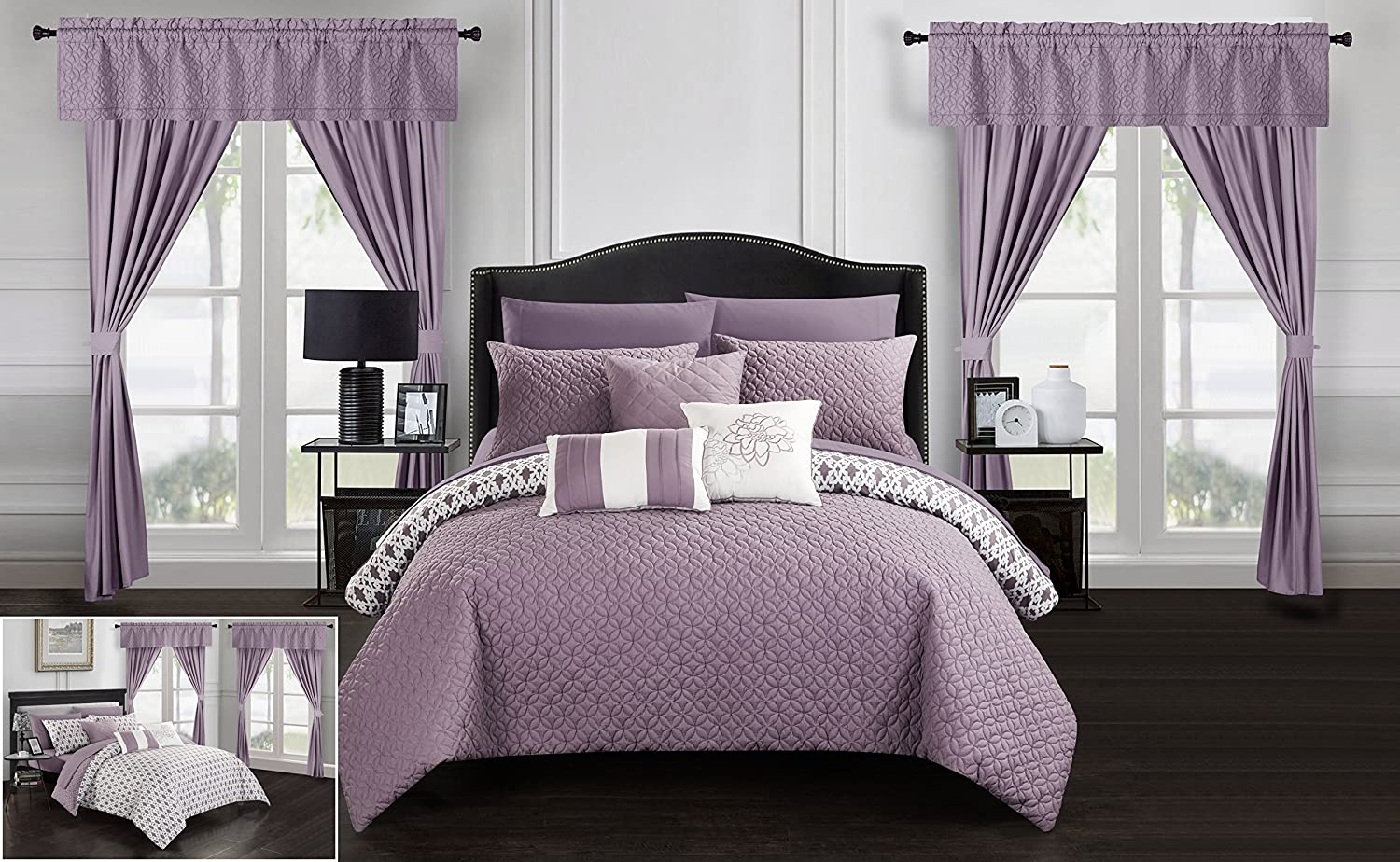 Chic Home Sigal 20 Piece Comforter Set Reversible Geometric Quilted Design Complete Bed in a Bag Bedding – Sheets Decorative Pillows Shams Window Treatments Curtains Included Queen Lavender