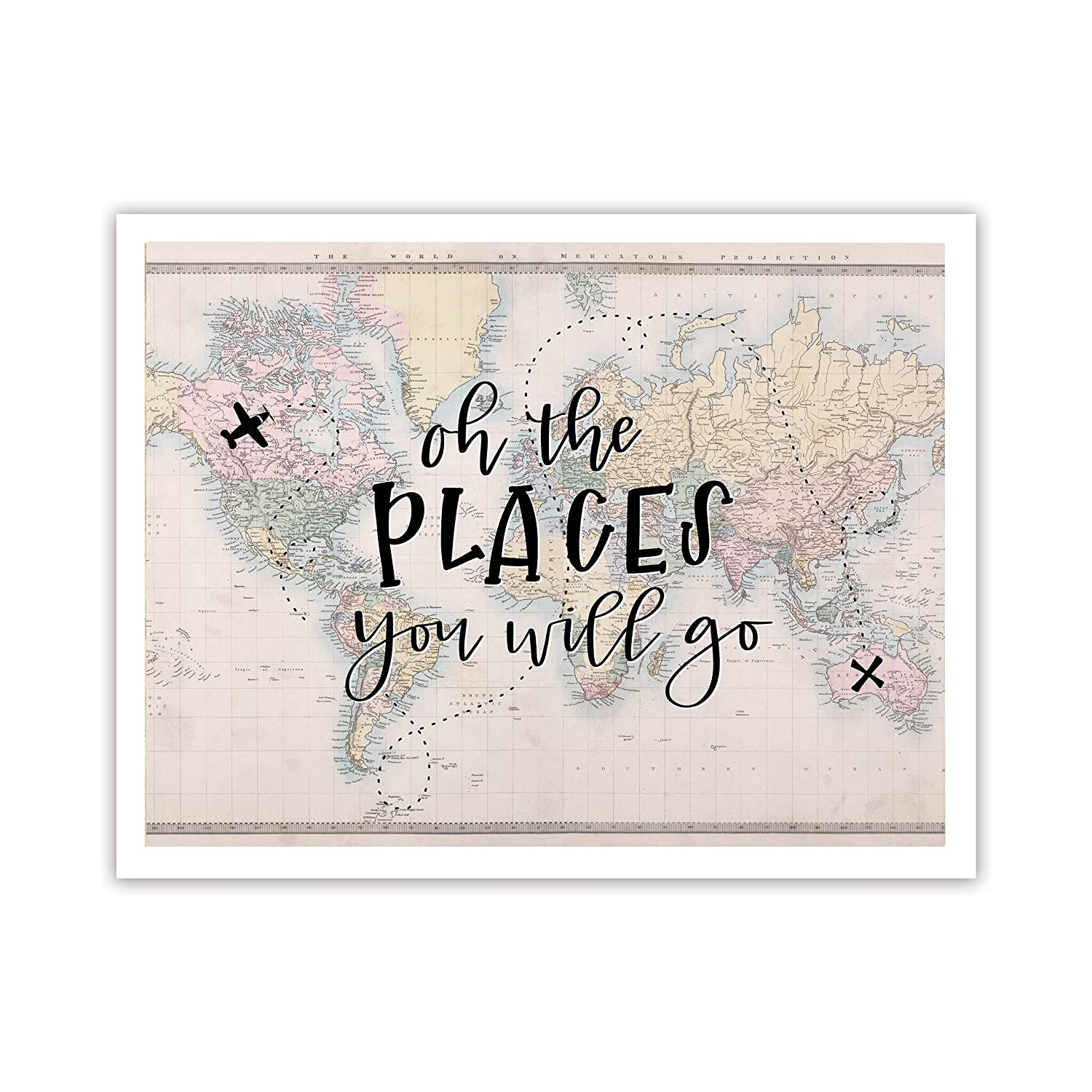 Handlettered Vintage Map Graphic Design Print 8.5 x11 ArtworkOh the places you will go