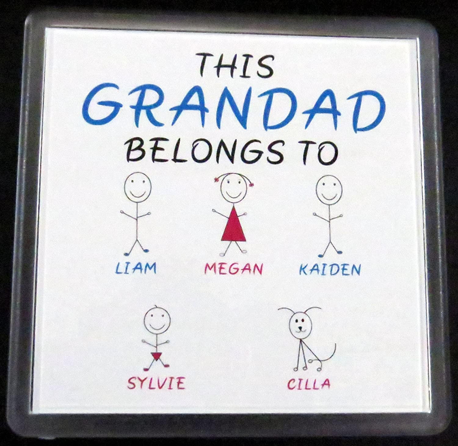 Perfect for Fathers Day This Grandad Belongs to Birthday Customisable Coaster Christmas or a Gift.