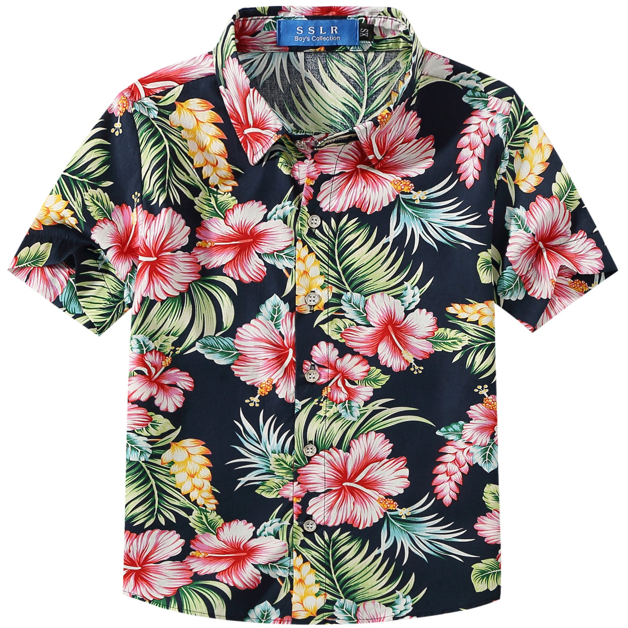 SSLR Big Boy's Hibiscus Cotton Short Sleeve Casual Button Down Hawaiian Shirt (Large(14-16), Navy)