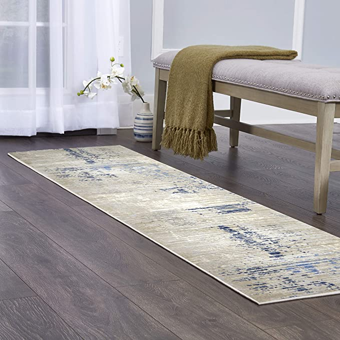 Amazon Com Home Dynamix Melrose Lorenzo Area Rug 1 8 X7 2 Runner Gray Blue Furniture Decor