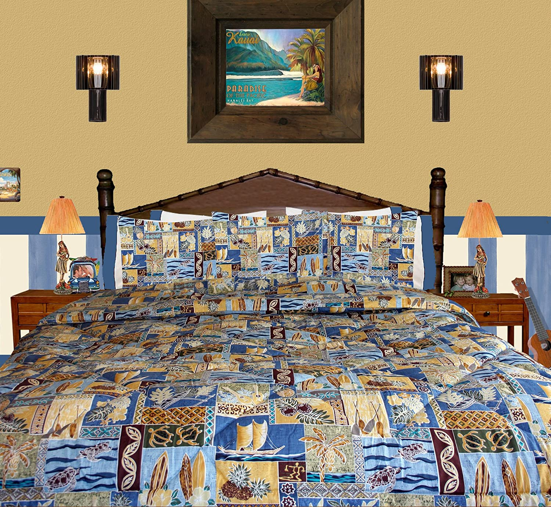 "Hibiscus Tropical Flower ""Sunset Beach"" Bedding By Dean Miller - Queen / Full Duvet Cover Set - Tropical with Pillowcases"