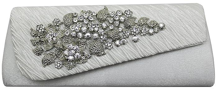 HotStyleZone - Cartera de mano con broche de brillantes con diseño floral.