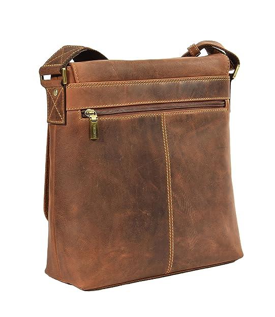 Mens cuir véritable Cross Body Sac Messenger épaule Voyage Casual style vintage Sac A120 Brun 1UIIuA