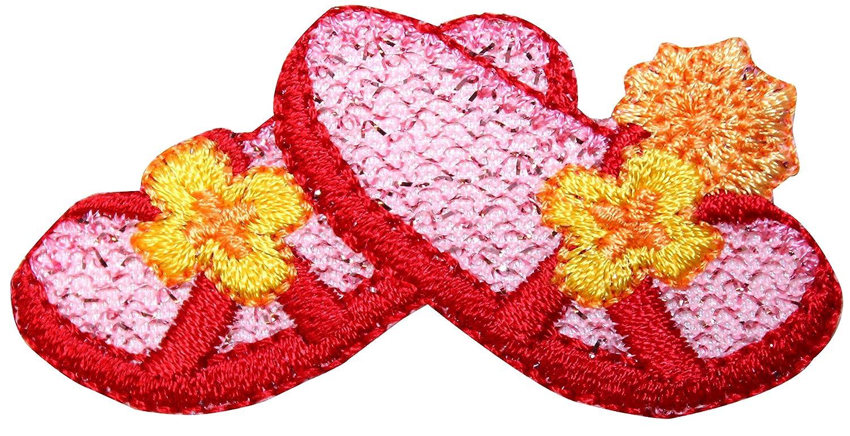 9c3e8c335e49 Amazon.com  ID 8536 Ruby Flower Sandals Patch Beach Flip Flop Embroidered  Iron On Applique