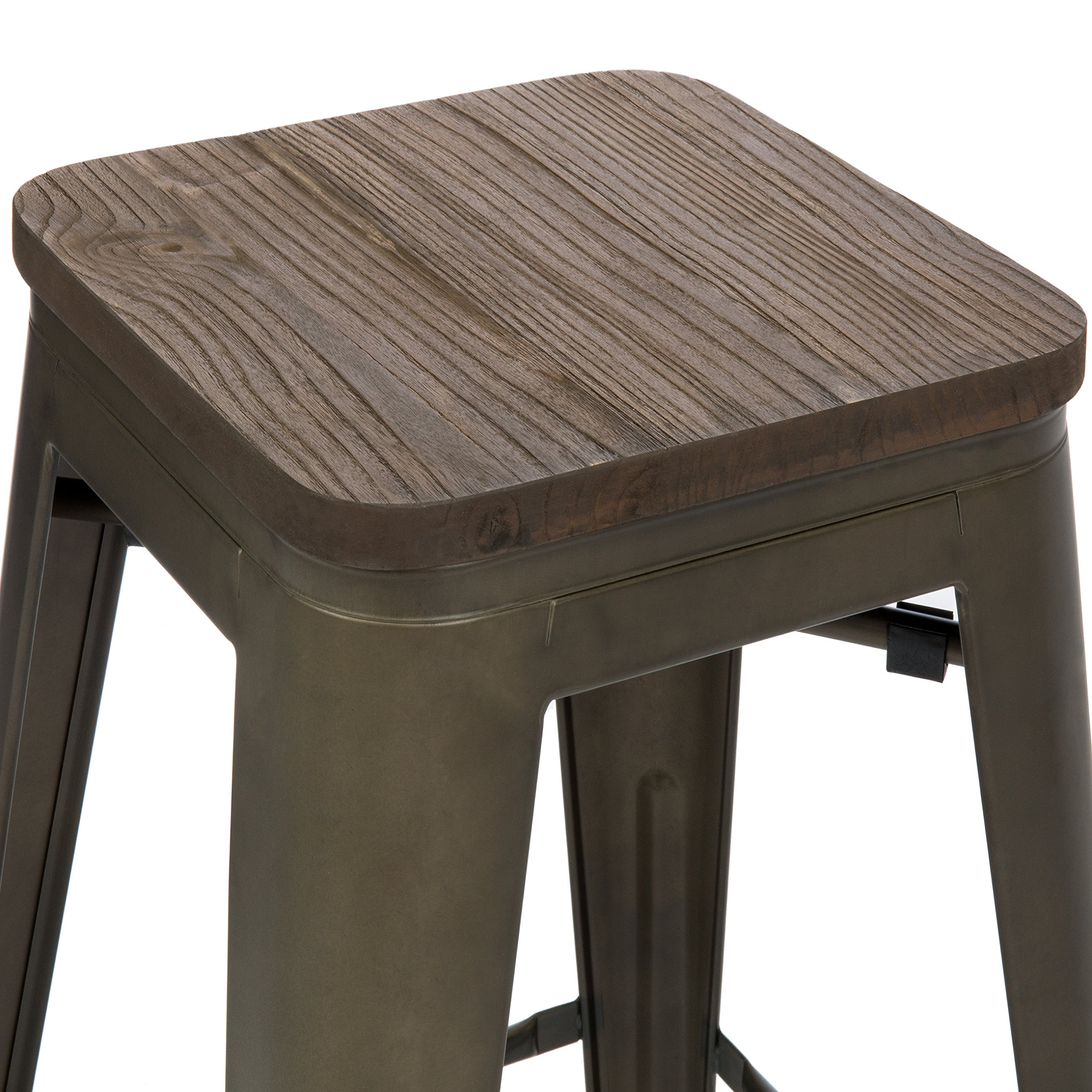 Best Choice Products 24in Set of 4 Stackable Industrial Distressed Metal Counter Height Bar Stools w/Wood Seat - Copper by Best Choice Products (Image #3)