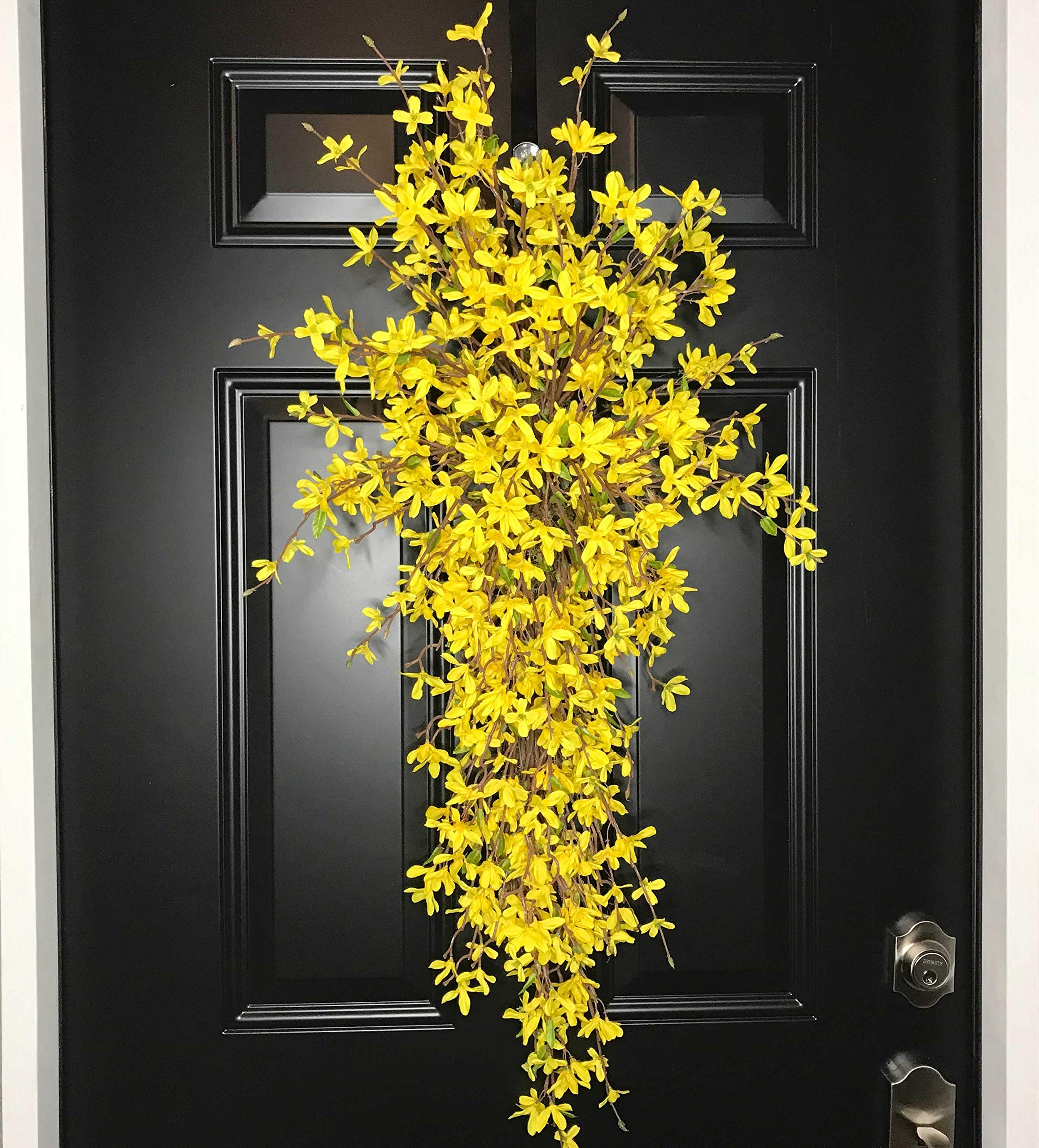 Extra Large Forsythia Floral Teardrop Swag Wreath for Front Door Porch Indoor Wall Farmhouse Decor Spring Springtime Summer Summertime Mother's Day Easter, Handmade, Yellow, 3 Sizes-42'', 36'', 30'' L by Wreath and Vine, LLC (Image #8)