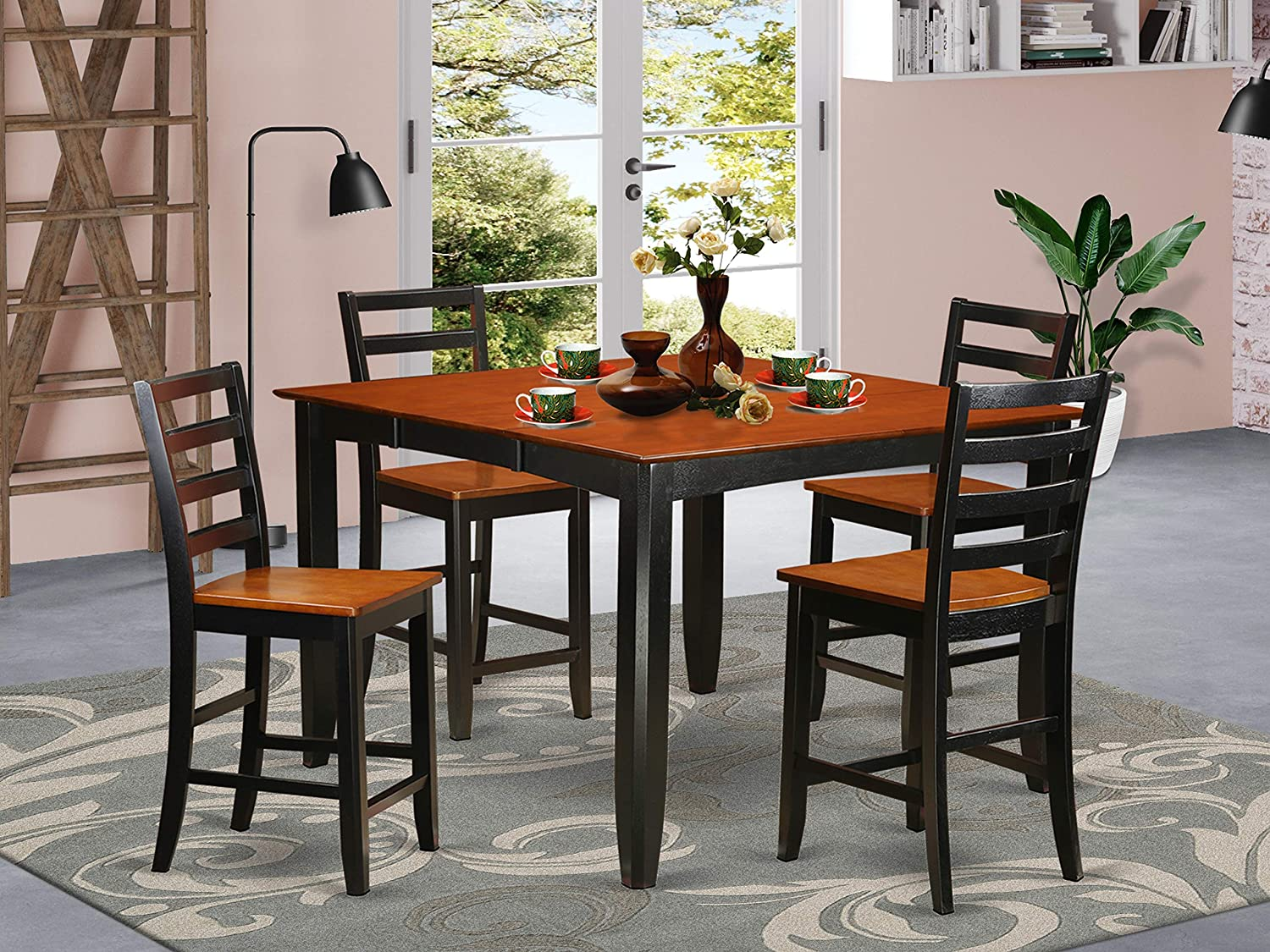 Amazon Com 5 Pc Counter Height Dining Set Square Counter Height Table And 4 Dining Chairs Table Chair Sets
