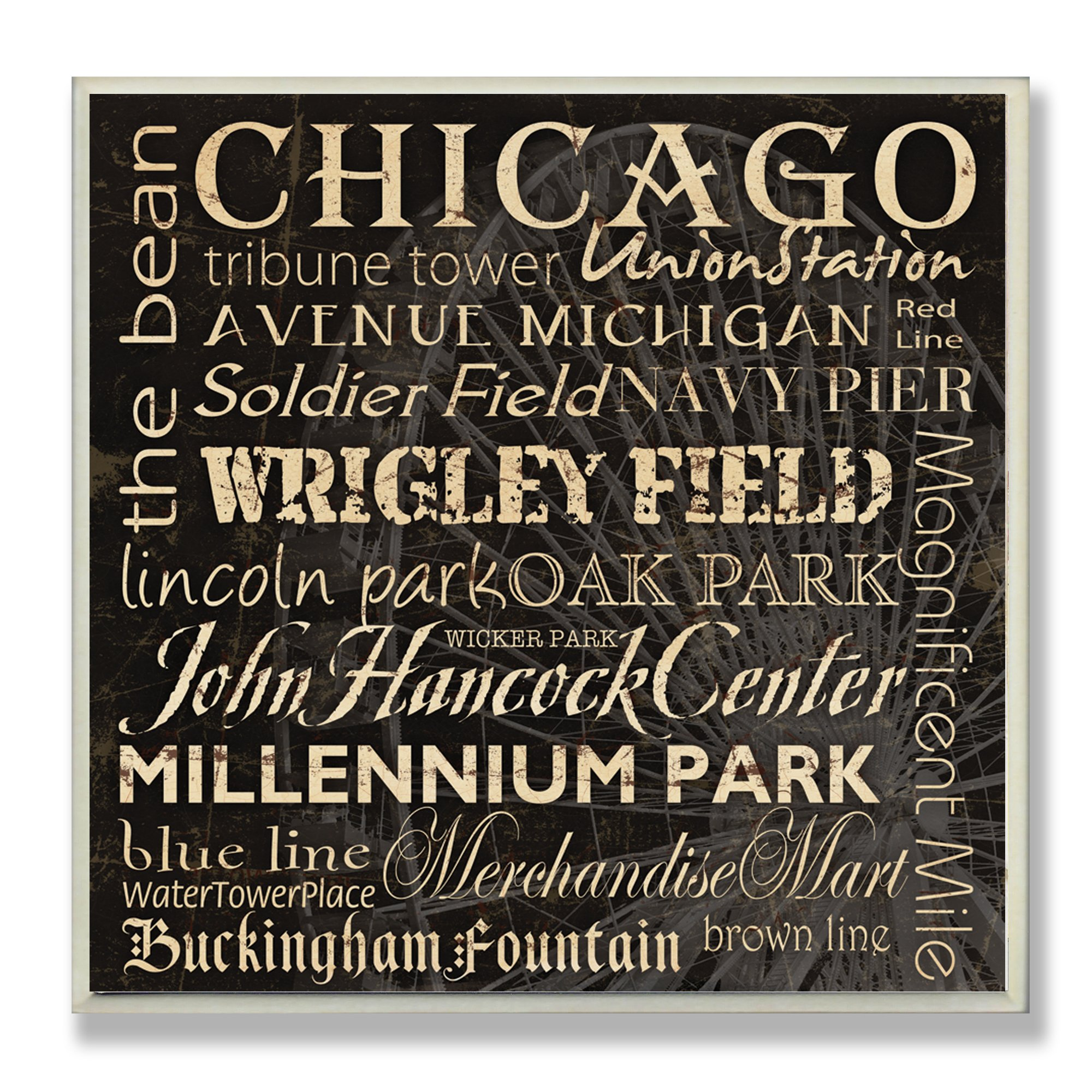Stupell Home Décor Chicago Landmarks Square Wall Plaque, 12 x 0.5 x 12, Proudly Made in USA