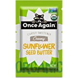 Once Again Organic Creamy Sunflower Butter - 1.15oz Squeeze Packs, 10 Count - Lightly Salted & Sweetened - Peanut Free, USDA