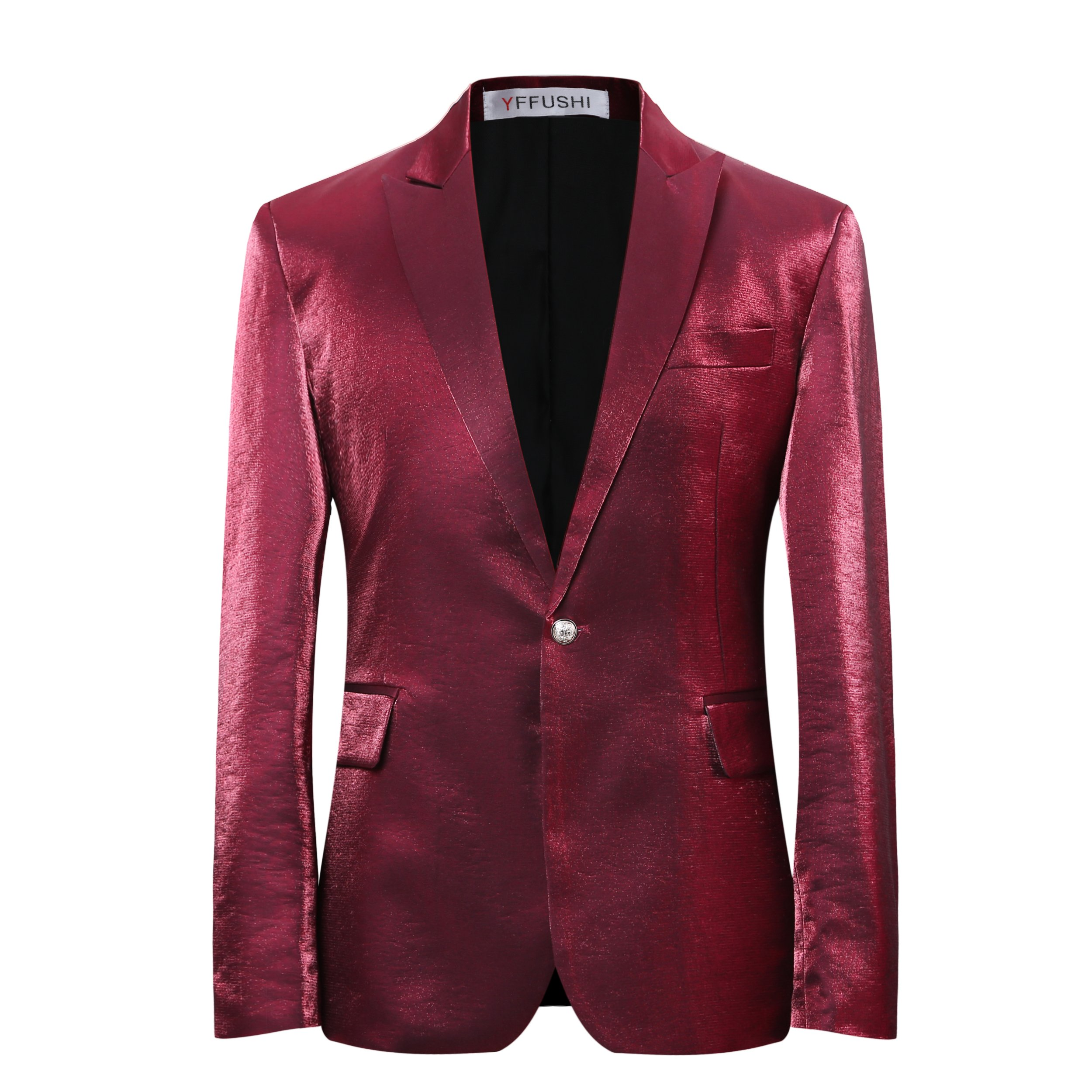 Mens Stylish One Button Red Floral Printed Jacket Slim Fit