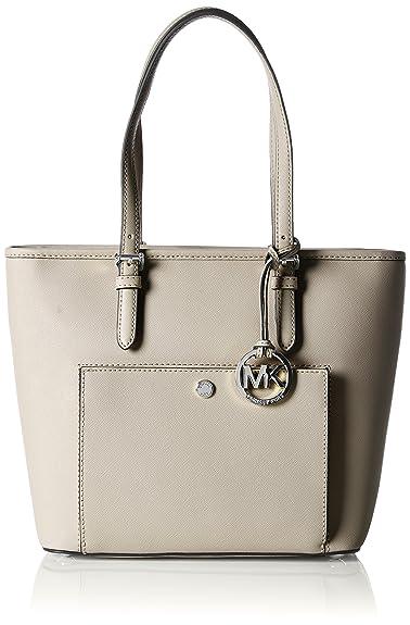MICHAEL Michael Kors Jet Set Medium Snap-Pocket Leather Tote Bag, Cement