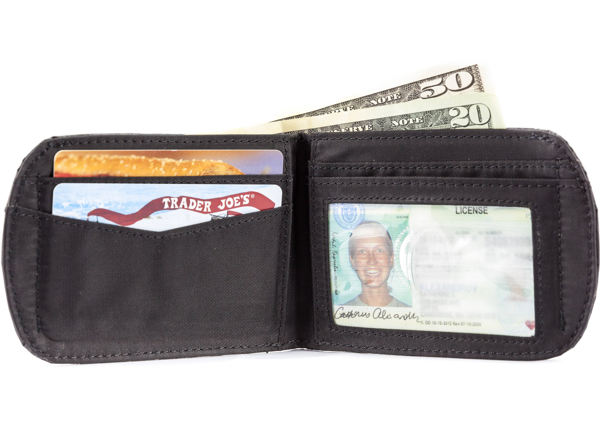 Big Skinny Men's Curve Leather Bi-Fold Slim Wallet, Holds Up to 20 Cards, Black