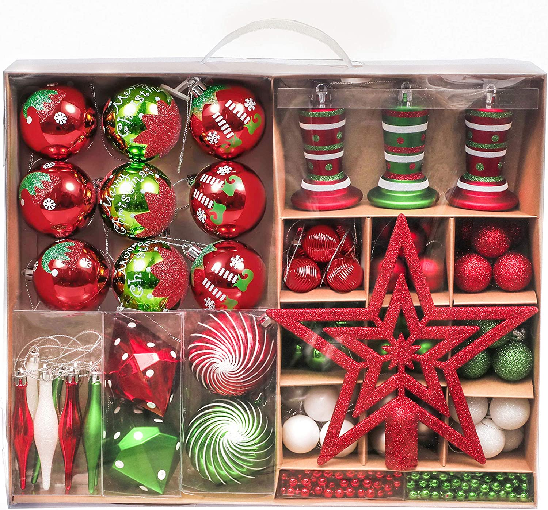 Victors Workshop 90Pcs Bolas de Navidad, Adornos de Navidad para Arbol Tema Elfo Setl, Decoración de Bolas Navideños Plástico de Rojo Blanco Verde, Regalos de Colgantes de Navidad (Deleitoso): Amazon.es: Hogar