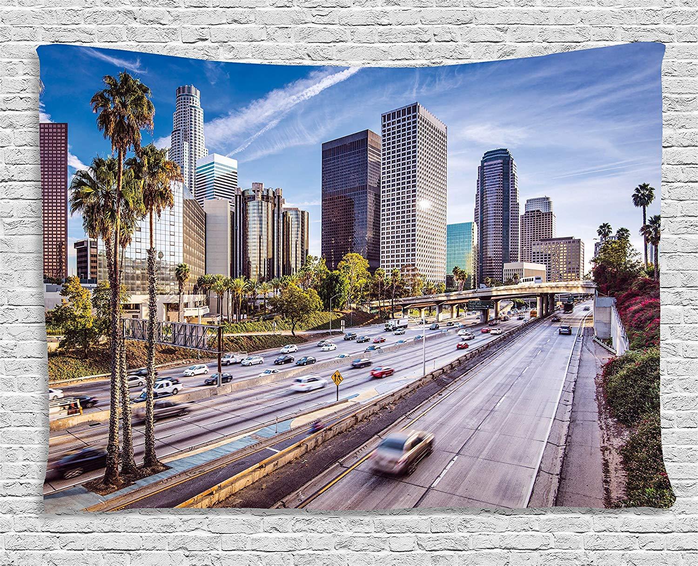 Soefipok Travel Decor Tapestry, Downtown Cityscape de Los Angeles, California, EE. UU. Avenue Buildings Palms, Colgante de Pared para Dormitorio Sala de ...