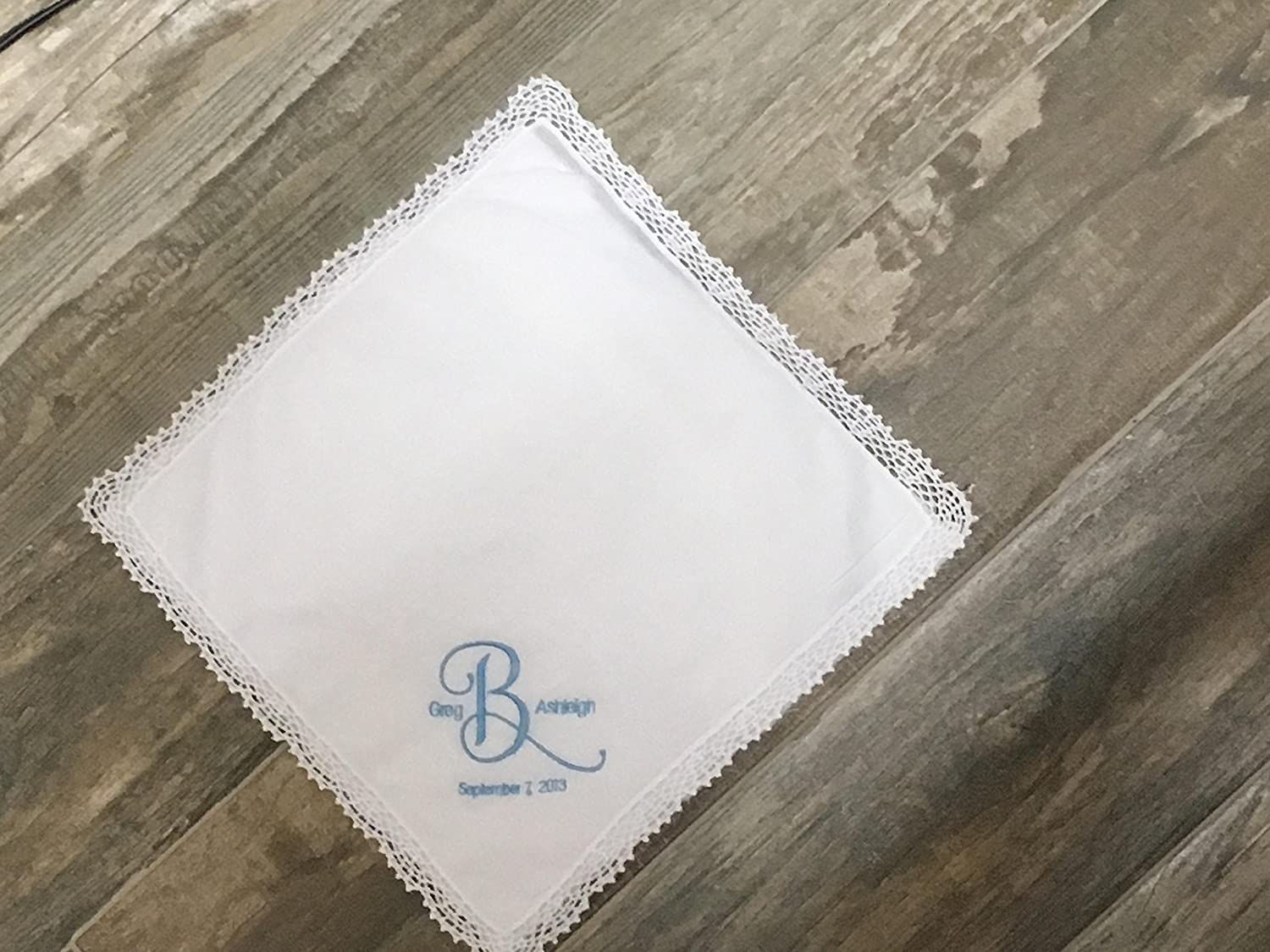 Something blue, wedding handkerchief, bridal gift, bride hanky, personalized wedding hanky, gift for bride, bouquet wrap
