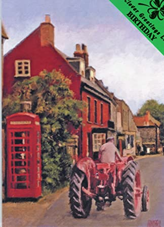 Happy Birthday Tractor In The Village Vintage Farming Birthday