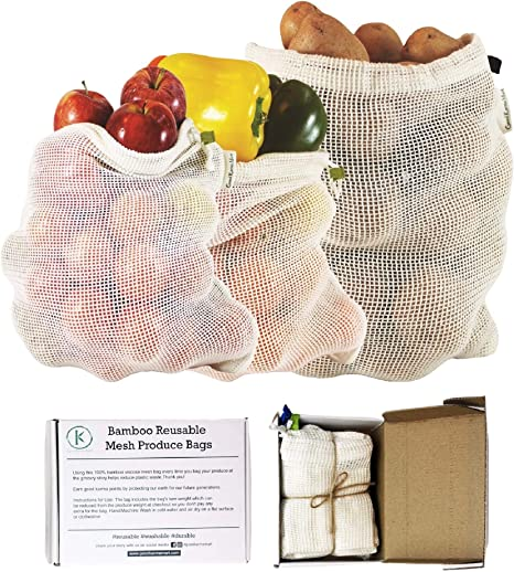 Reusable Mesh Produce Bags,Mesh Bags for Vegetables Eco Friendly Net Bags for Grocery Shopping /& Storage Bags of Fruit Vegetables Set of 12 Garden Produce Bags