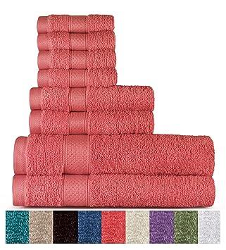 Welhome 100% algodón conjunto 8 pieza toalla (coral); 2 toallas de baño, 2 toallas de mano y 4 Estropajos, lavable a máquina: Amazon.es: Hogar