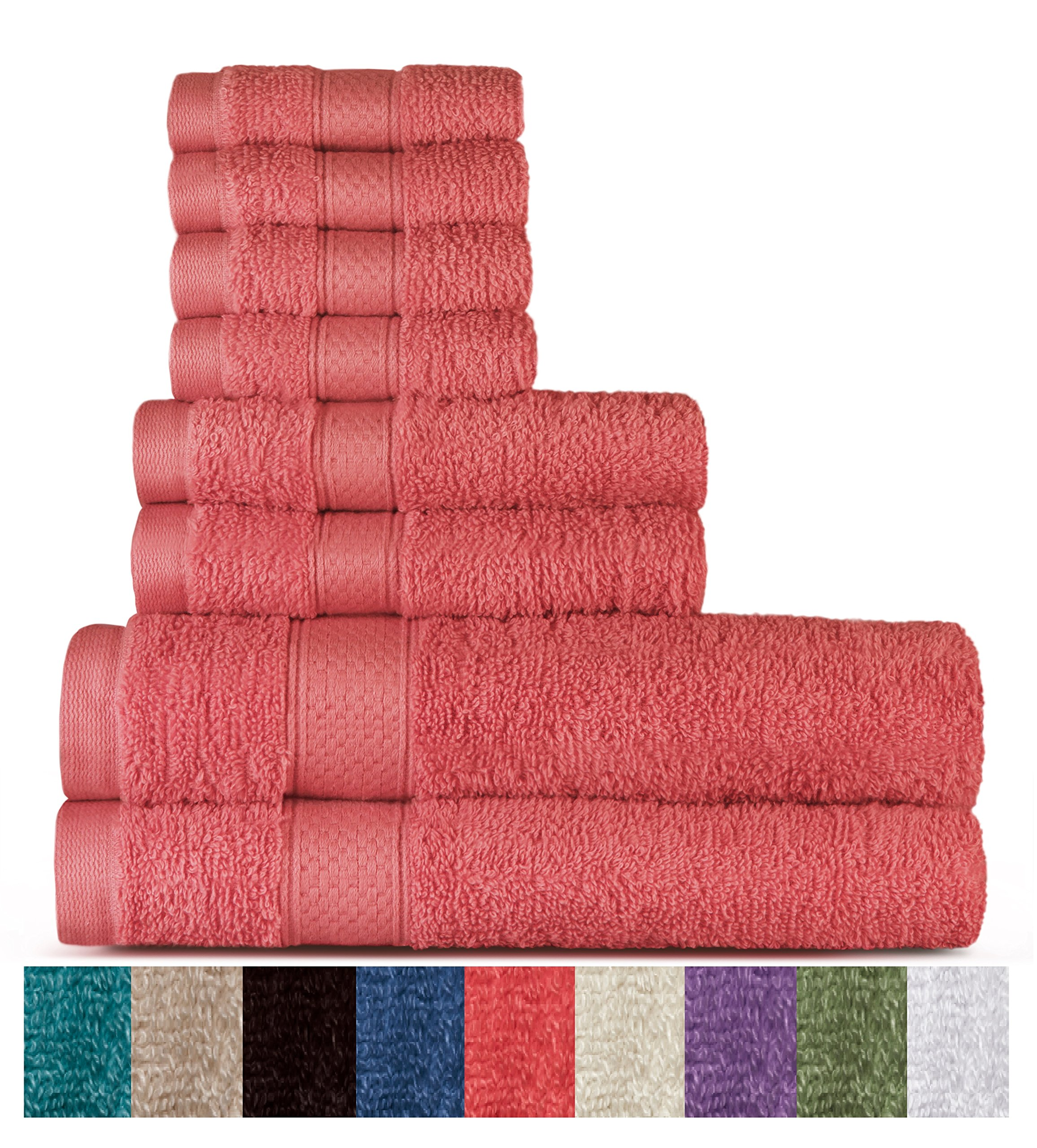 100% Cotton 8 Piece Towel Set (Coral); 2 Bath Towels, 2 Hand Towels and 4 Washcloths, Machine Washable, Super Soft by WELHOME