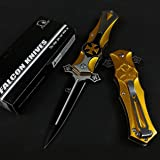 """Falcon 8"""" Tactical Style Cross Folding, Pocket Knife for Fishing, Camping, Cutting Rope and Everyday Uses"""