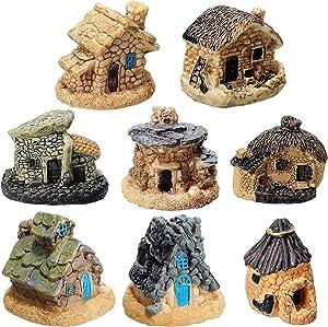 8 Pieces Fairy Garden Miniature Stone House Furniture Ornaments Mini Fairy Cottage House Miniature Garden Houses for Dollhouse Accessories Home Micro Landscape Decoration