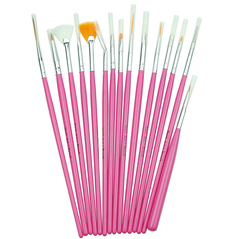 15 Pc Nail Art Brush Set Pink Amazon Beauty