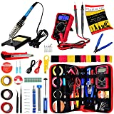 Soldering Iron Kit - Soldering Iron 60 W Adjustable Temperature, Digital Multimeter, Wire Cutter, Stand,Soldering Iron Tip Set, Desoldering Pump, Solder Wick, Tweezers, Rosin, Wire - [110 V, US Plug] (Color: Black and Red, Tamaño: Medium)