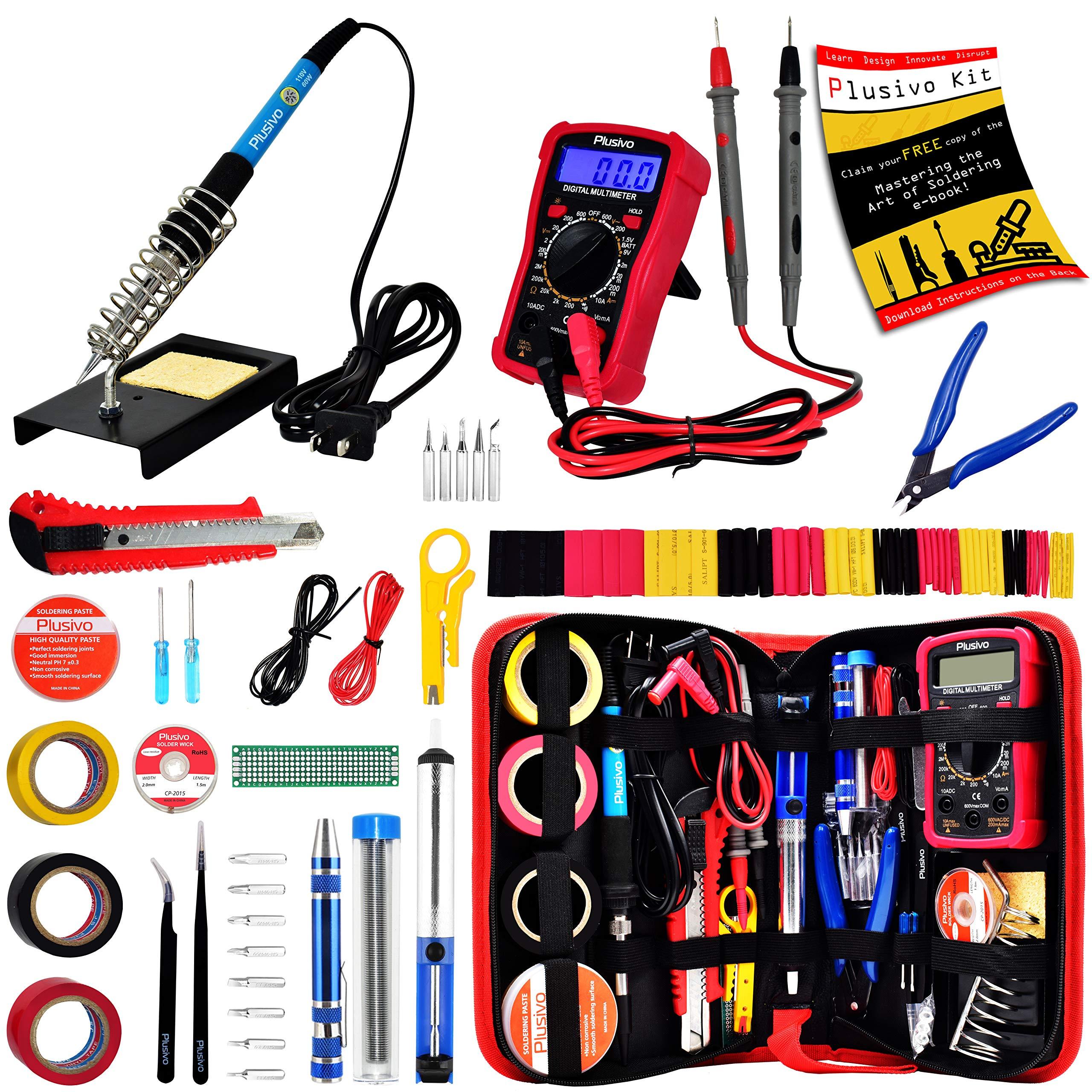 Soldering Iron Kit - Soldering Iron 60 W Adjustable Temperature, Digital Multimeter, Wire Cutter, Stand,Soldering Iron Tip Set, Desoldering Pump, Solder Wick, Tweezers, Rosin, Wire - [110 V, US Plug]