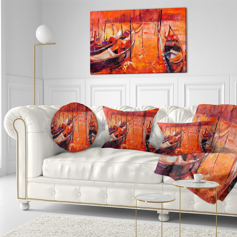 Designart CU7848-20-20-C Red Sunset Over Venice Throw Pillow 20