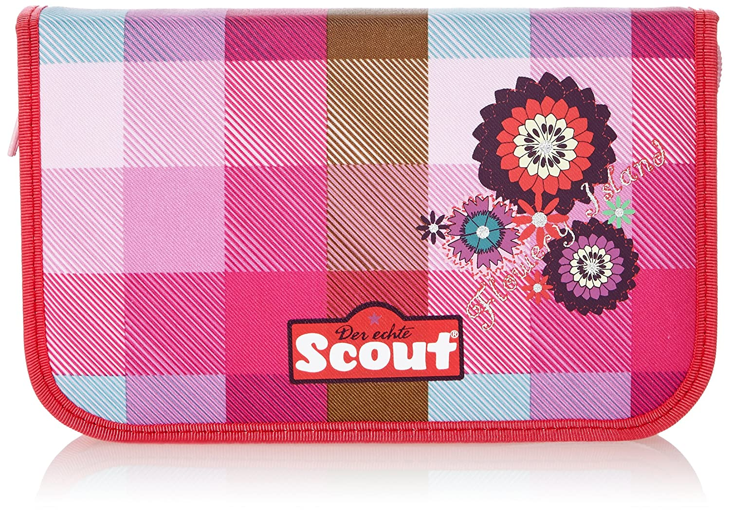 Pink red Scout School Pencil Case With Basic Set, bluee Yellow