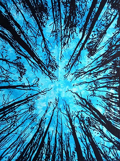 4c817165ab1d Buy Heyrumbh Handicrafts Bohemian Tie Dye Sky Blue Dark Forest Tapestry  Printed Wall Hanging Cotton Poster (40 X 30 inches) Online at Low Prices in  India ...