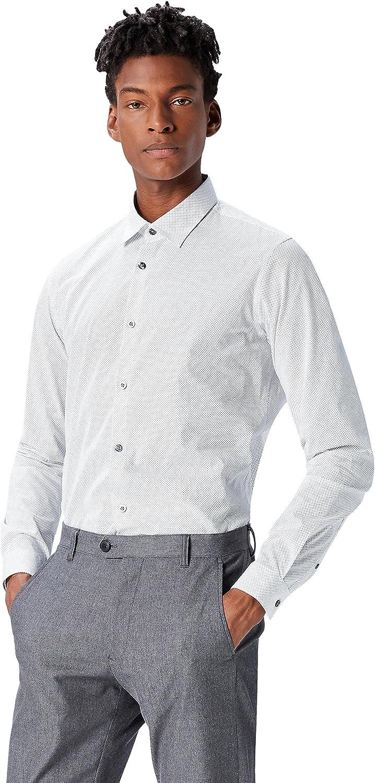 T-Shirts Herren Schmales Smokinghemd mit Mikro-Print