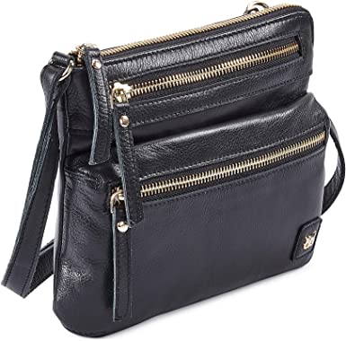 Amazon.com: Wise Owl Accessories Small Triple Zip Real Leather Women's  Crossbody- Premium Vintage Crossover Shoulder Sling Bag (Black Nappa):  Clothing