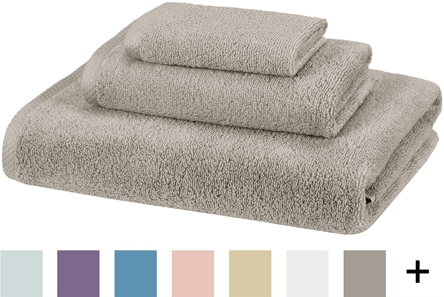 AmazonBasics Quick-Dry 3-Piece Towel Set, Platinum