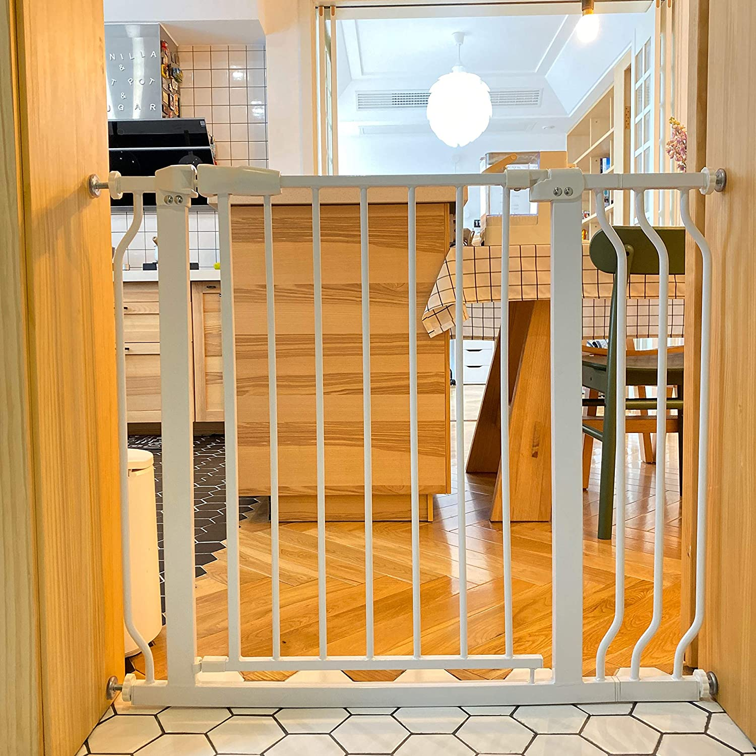 BalanceFrom Easy Walk-ThruSafety Gate for Doorways and Stairways with Auto-Close/Hold-Open Features, Multiple Sizes, White: Sports & Outdoors