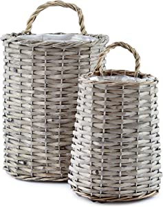 AuldHome Wall Hanging Baskets (Set of 2); Woven Wicker Rustic Farmhouse Gray Washed Door Baskets, Small and Medium Size