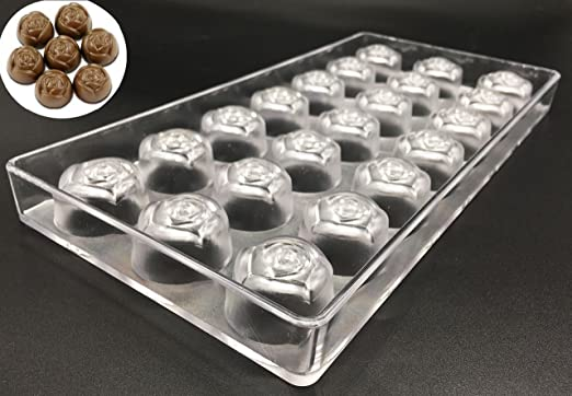 Flower Screw thread Shape 24 Cups PC Plastic Polycarbonate Chocolate Tray Mold