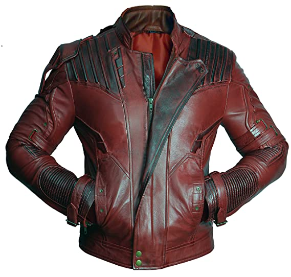 cee6ad89636f Premium Leather Jackets Star Lord Guardians of Galaxy 2 Chris Pratt Real Leather  Jacket at Amazon Men s Clothing store