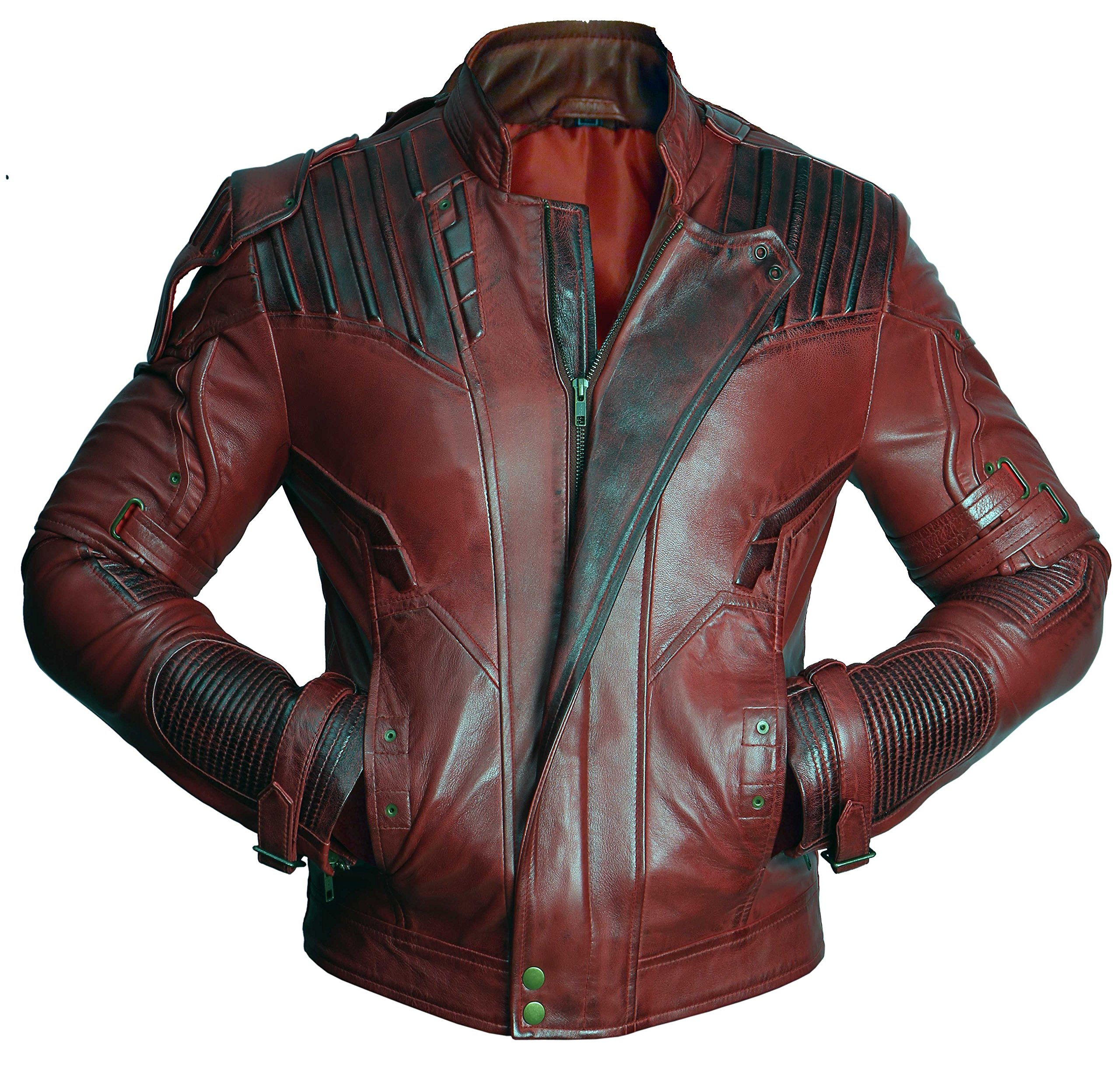 Premium Leather Garments Star Lord Guardians Of Galaxy 2 Chris Pratt Real Leather Jacket (S - Suitable For Chest Size 37'') by Premium Leather Garments