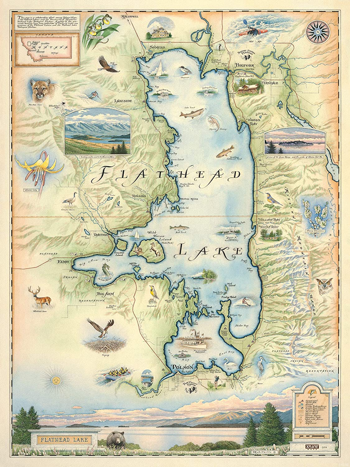 map flathead lake montana Flathead Lake Montana Map Wall Art Poster Authentic Hand Drawn map flathead lake montana